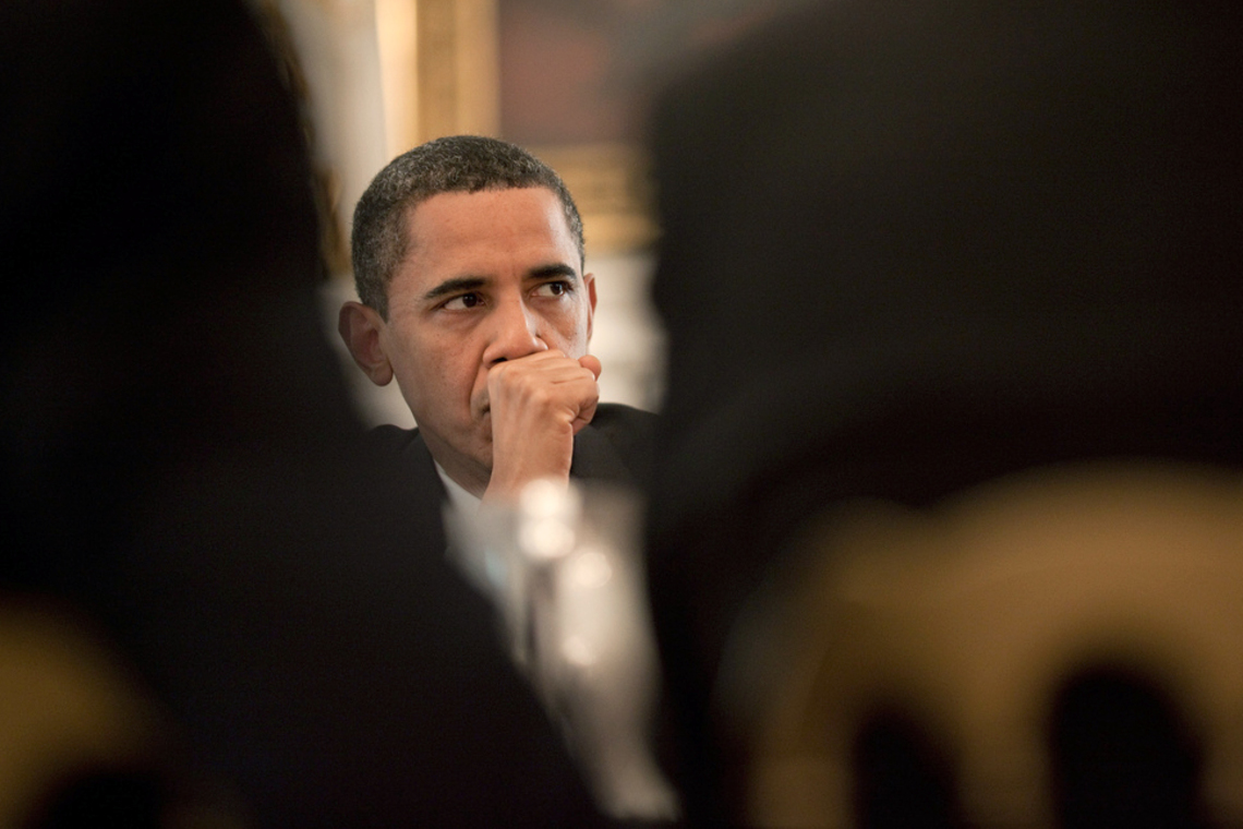 President Barack Obama meeting about immigration reform in June 2009.