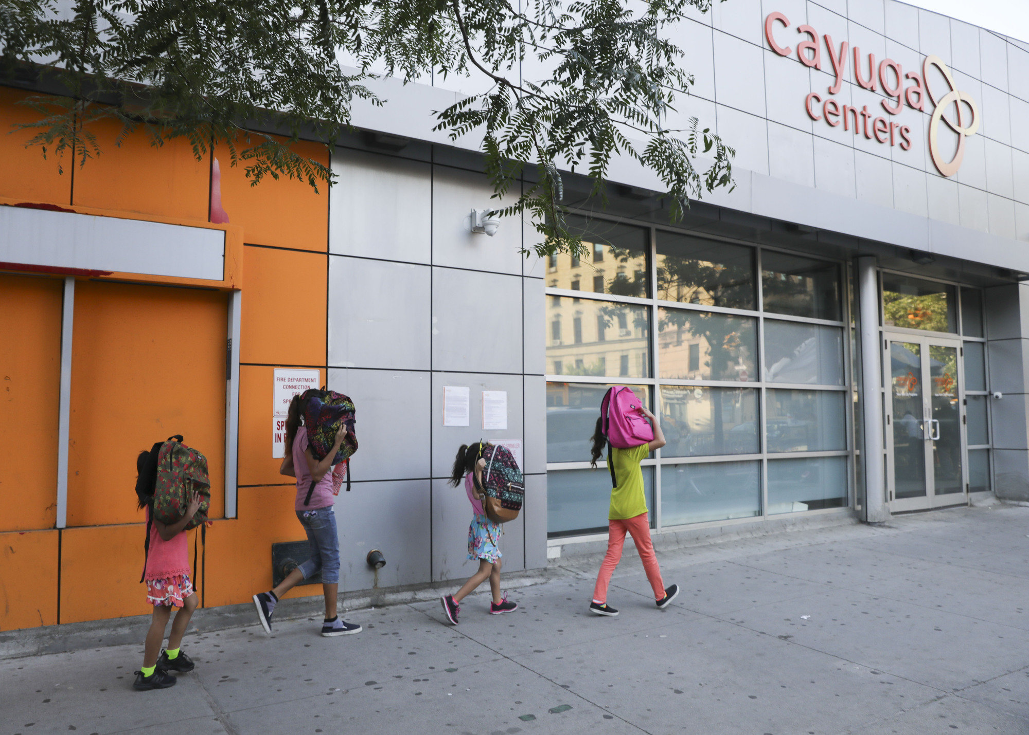 The Cayuga Centers in Harlem, pictured here in 2018, places unaccompanied children in foster-care families and has reported two staff members testing positive for COVID-19.