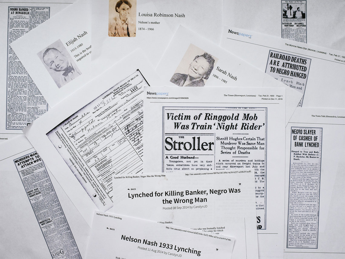 An array of news articles about the death of Nelson Nash printed by Carolyn Jordan-Daniels.