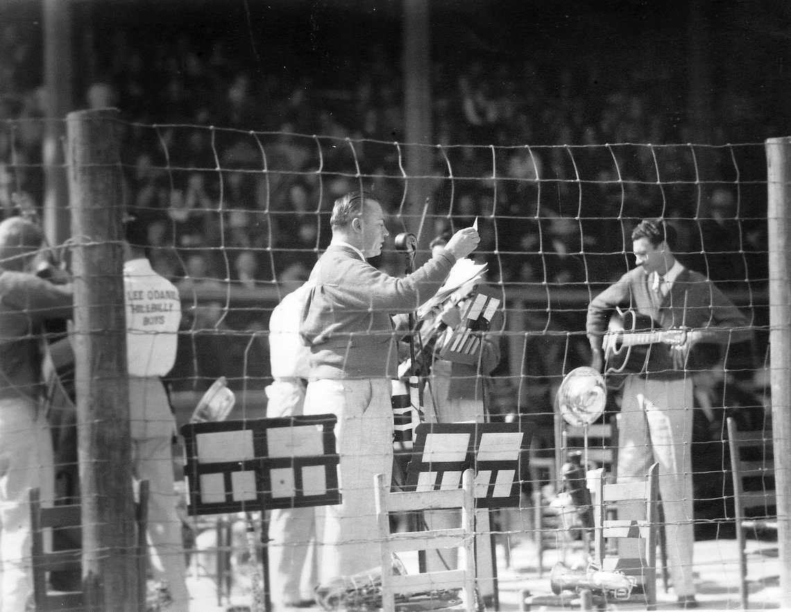 W. Lee Pappy O'Daniel with his band at the Texas Prison Rodeo. Date unknown. O'Daniel was at one time the governor of the state.