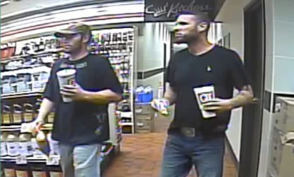 Escaped inmates Darren Walp, 37, left, and Andrew Foy, 32, in a surveillance video from a Quik Trip store in Sapulpa, Okla., on August 23, 2017.