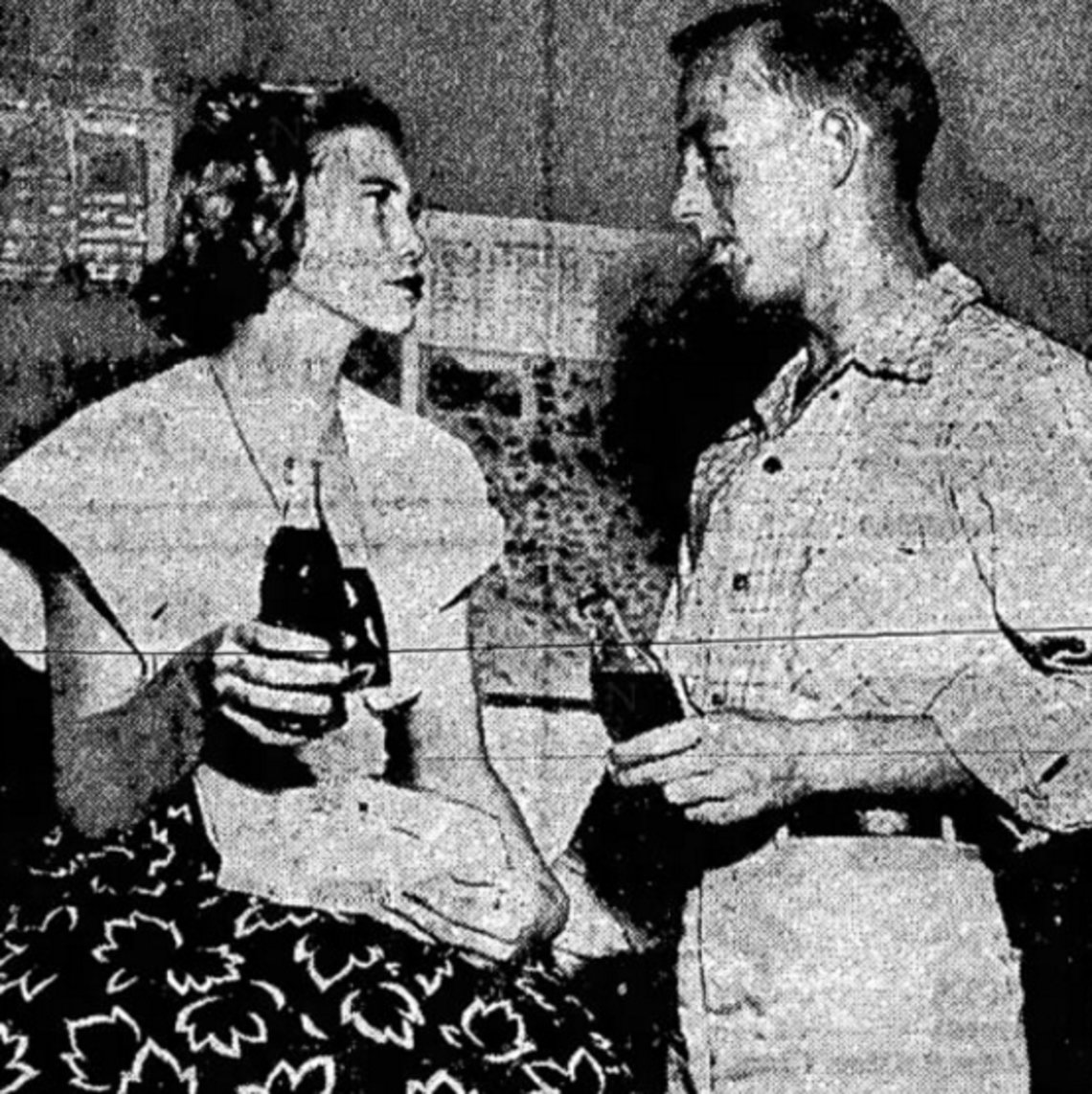Norma Padgett and her husband Willie after questioning by the state's attorney, in a 1949 newspaper clipping.