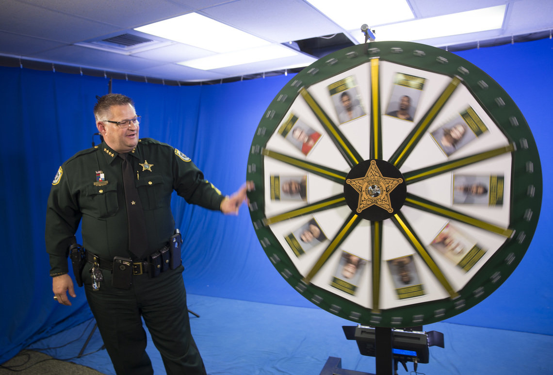Sheriff Wayne Ivey of Brevard County spins the