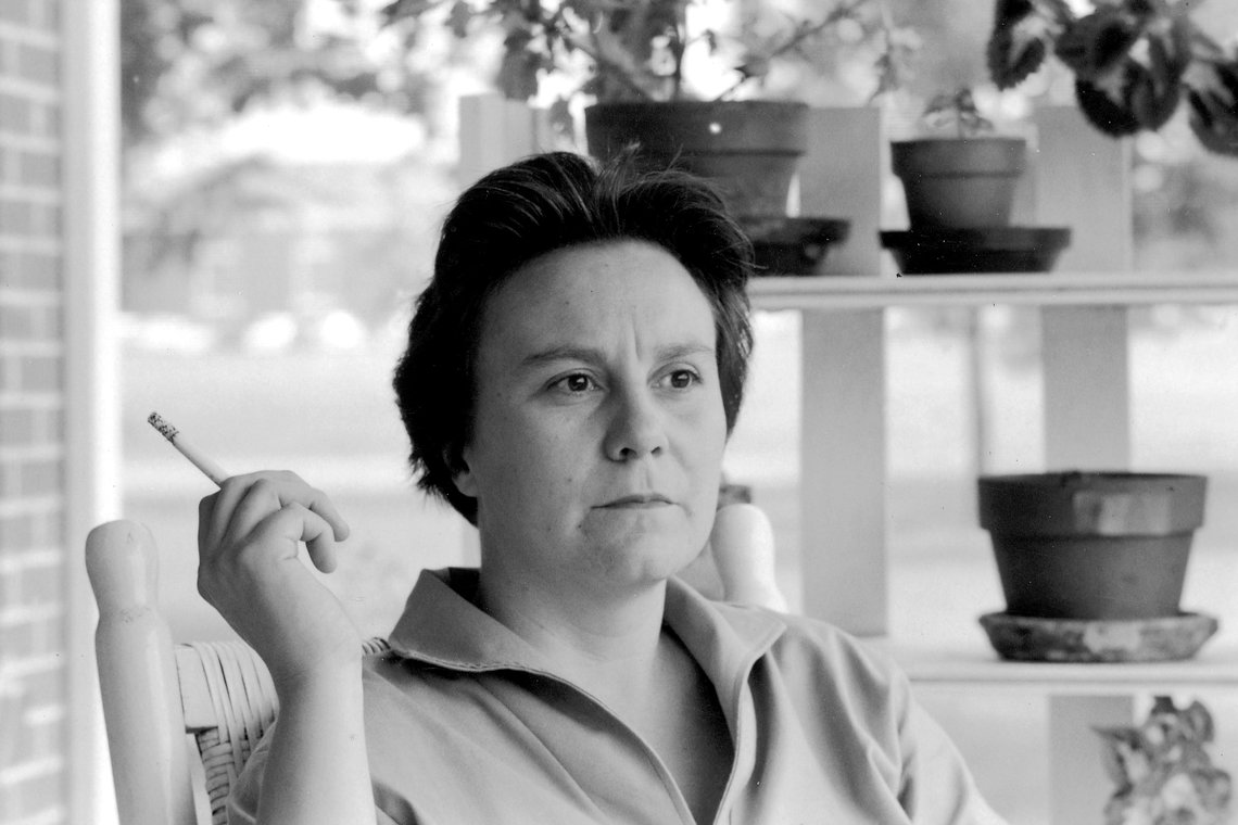 Harper Lee on the porch at her parent's home in Monroeville, Ala. in 1961.