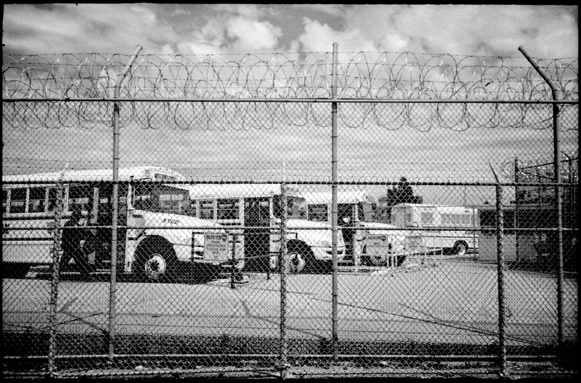 These buses transport inmates to and from Rikers Island.