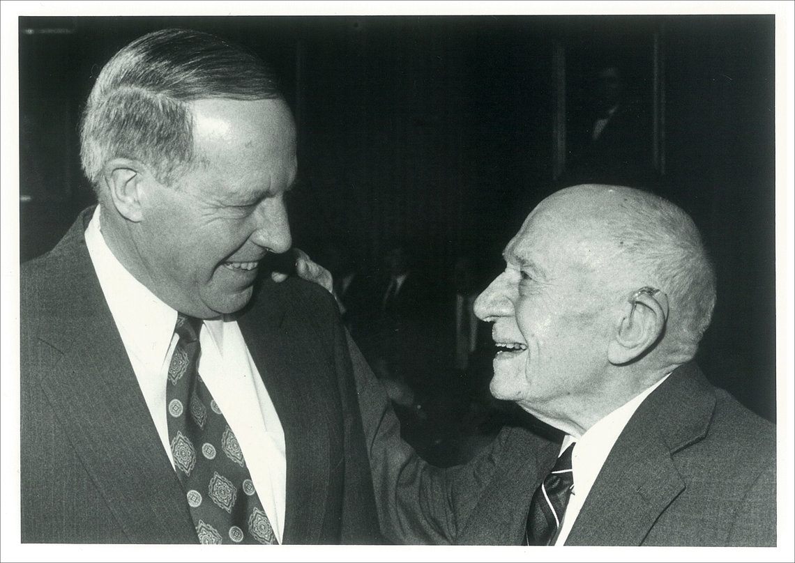 Lake, Jr., left, with his father in 1994 after being elected to the North Carolina Supreme Court.