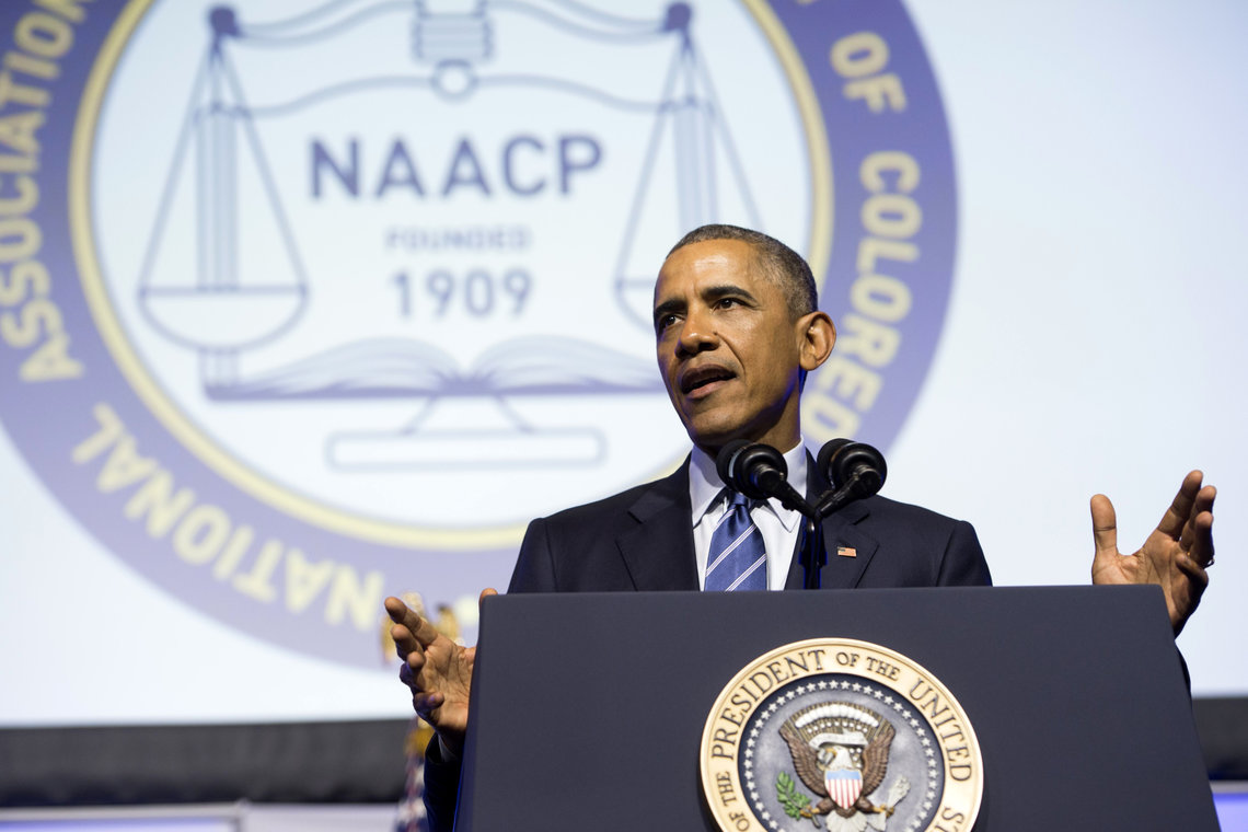 President Barack Obama speaks at the NAACP's 106th National Convention in Philadelphia, Pa., on July 14, 2015.