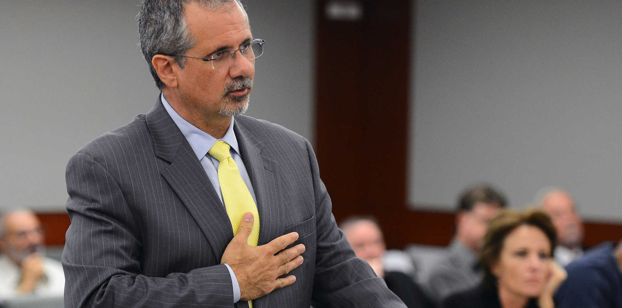Defense attorney and state assemblyman Ozzie Fumo spoke at a hearing in Clark County District Court in 2013 in Las Vegas, Nev.
