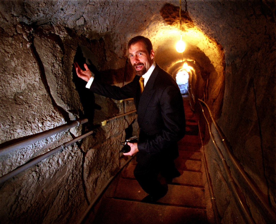 Henry Nicholas III,  the billionaire co-founder of semiconductor firm Broadcom, in one of the tunnels running under his home.