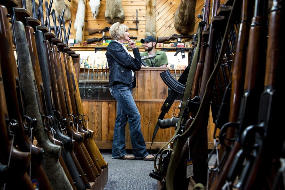 Perry at her gun shop in Boise, Idaho