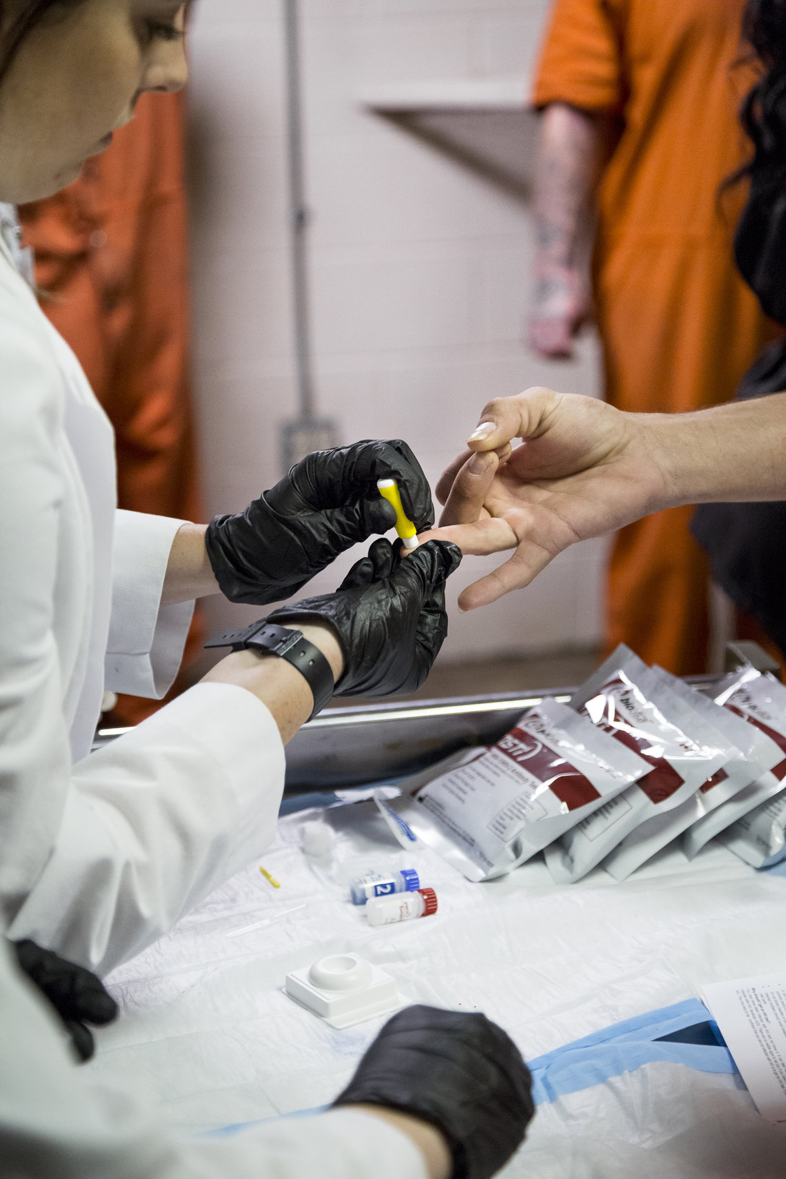 An inmate receiving a voluntary HIV test at Lafayette Parish Correctional Center in Lafayette, La.