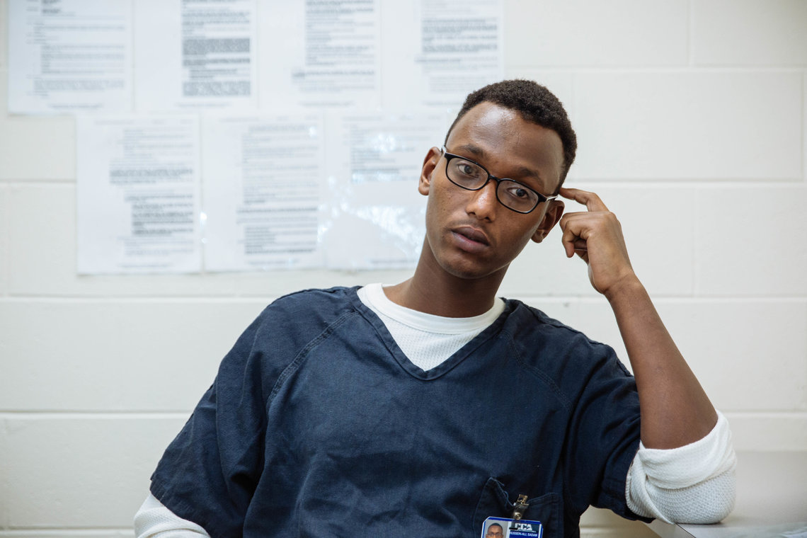 Sadam Hussein Ali says he left Somalia because al Shabab was threatening his family.  Once in the United States, he was transferred to Stewart Detention Center and was unable to find pro bono legal help. Denied asylum, he is waiting to be deported back to Somalia.