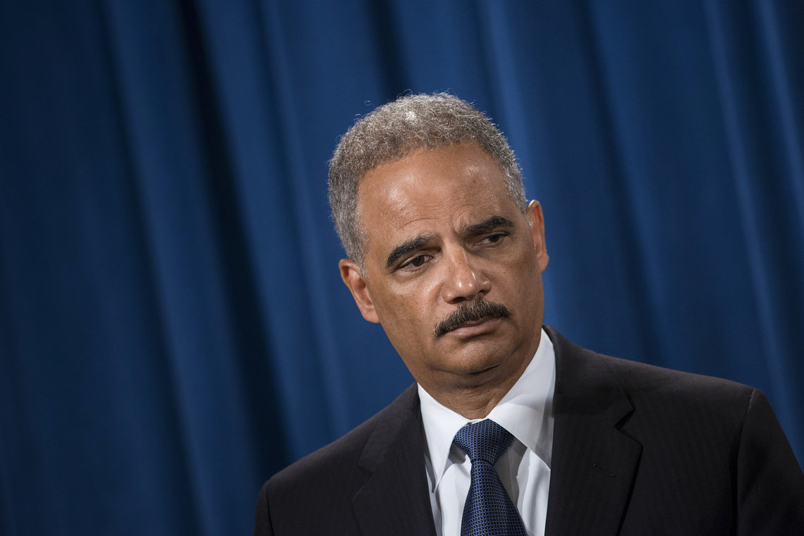 U.S. Attorney General Eric Holder announces the opening of a Justice Department civil rights investigation into the Ferguson, Mo. police department on Sep. 4, 2014. Under Holder, the department has reached settlements in 15 'pattern or practice' violations by state and local law-enforcement agencies, including eight consent decrees.