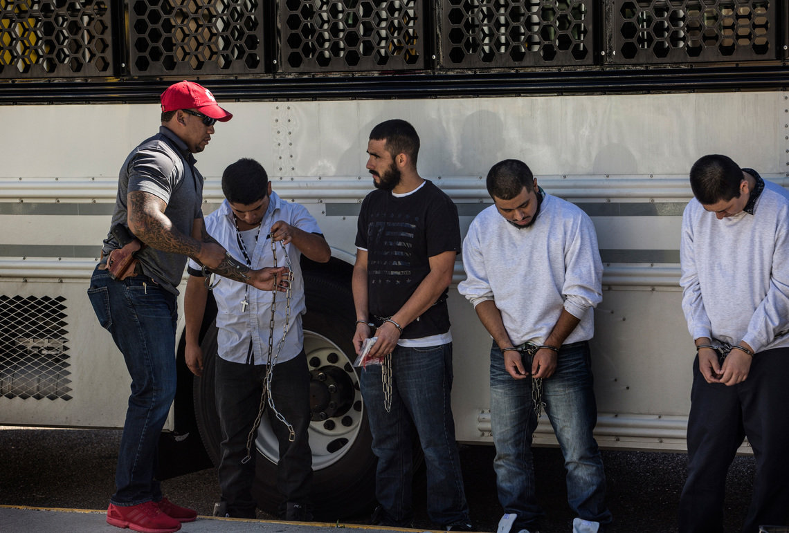 There is another regular cycle in Laredo: the daily deportations of Mexicans who were caught crossing the border illegally or living in the United States without documents, or whose claims for asylum were denied by the immigration court. Immigration and Customs Enforcement brings them in buses from detention centers in Texas to the Juarez-Lincoln Bridge. Their shackles are removed and a gateway is opened so they can walk back across the bridge to Mexico.