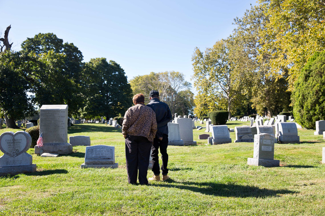 In Philadelphia, Elston and his mother visited the grave of his grandmother Sallie, who helped raise him in Alabama. Elston was heartbroken he couldn't attend her funeral in 1997.