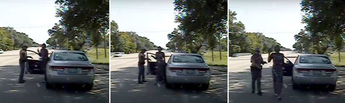 Video from a dashboard camera showed Sandra Bland's arrest in a traffic stop in Prairie View, Texas, in July 2015.