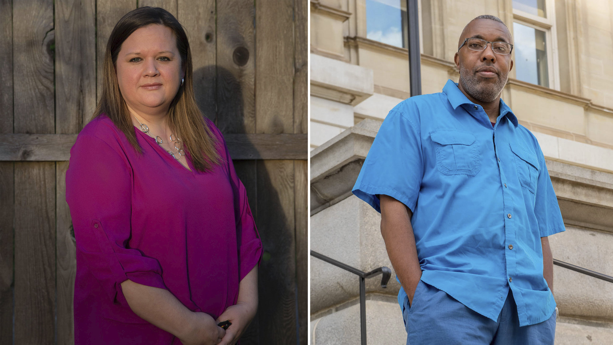 Tarra Simmons, left, and Kevin Harris are running for state representative respectively in Washington and Michigan. Both have been outspoken on the campaign trail about being formerly incarcerated.