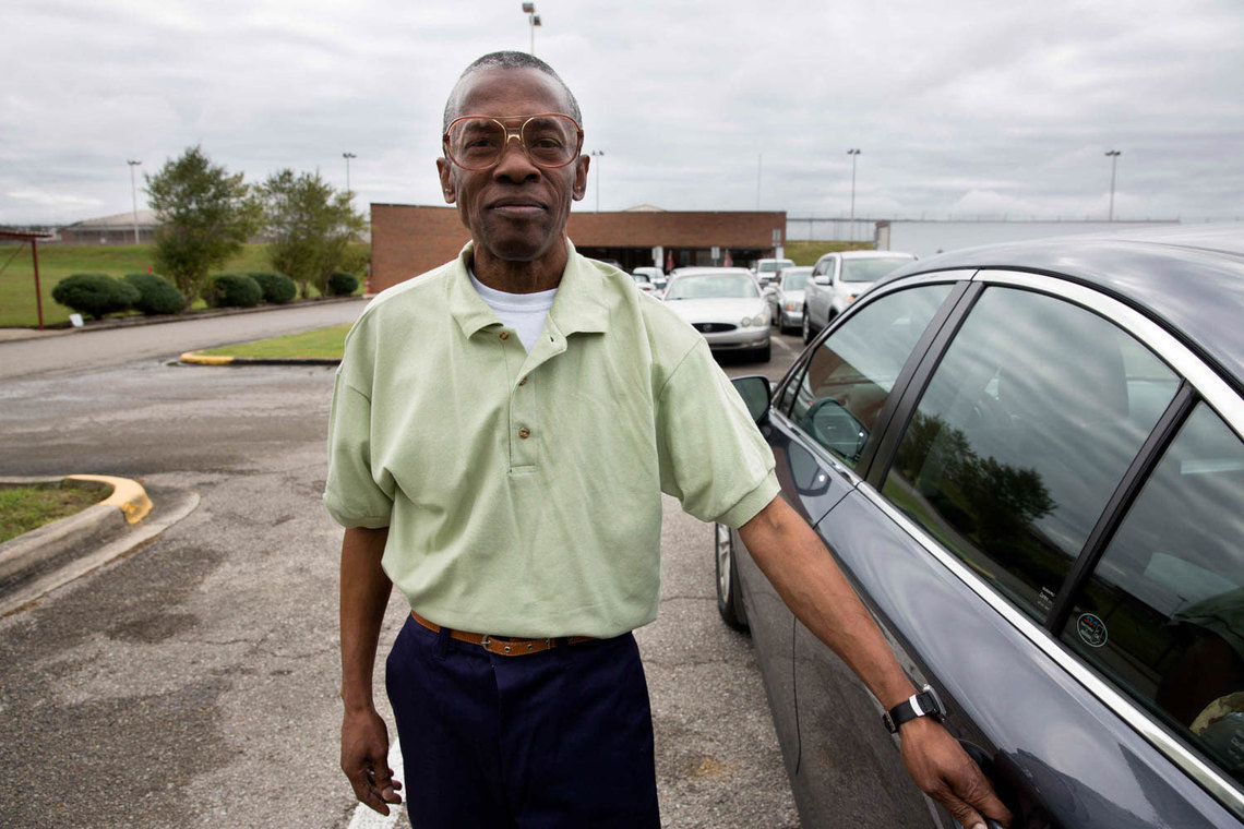 """Ronald Elston, minutes after his release from St. Clair Correctional Facility in Alabama. """"When I wake up,"""" he said, """"it will be strange to me, because I'm so used to waking up in that little small cell with just a toilet and bed for so long. I'm going to think I'm dreaming or something."""