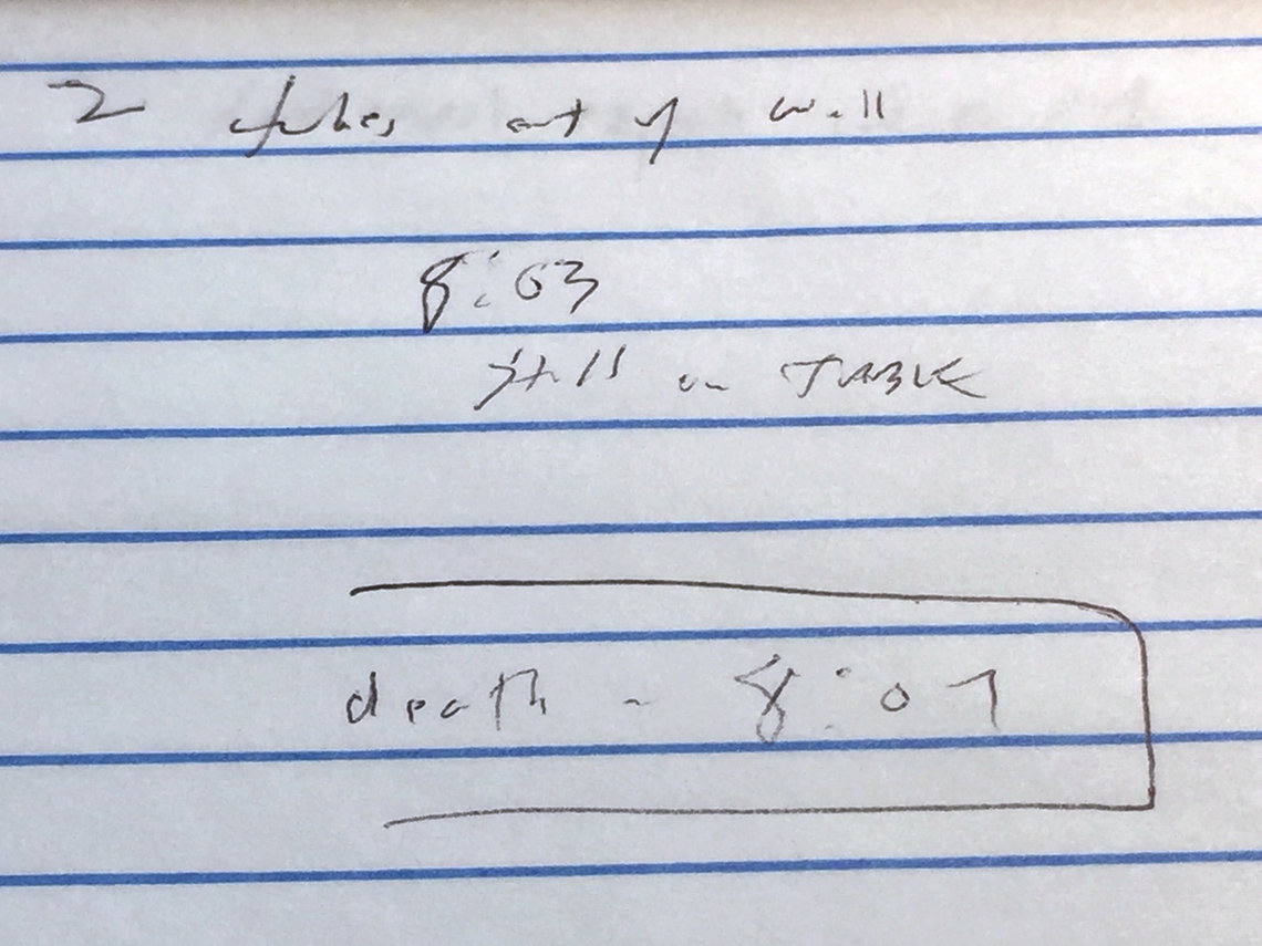 Notes made by Tim Evans, investigative reporter for The Indianapolis Star.