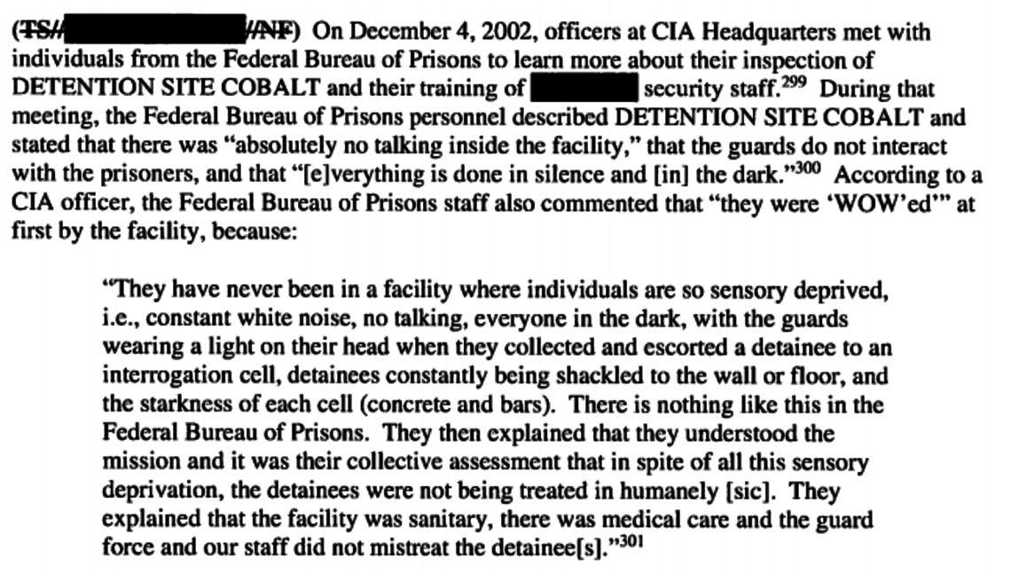 An excerpt from the Senate Intelligence Committee report on C.I.A. interrogation tactics.