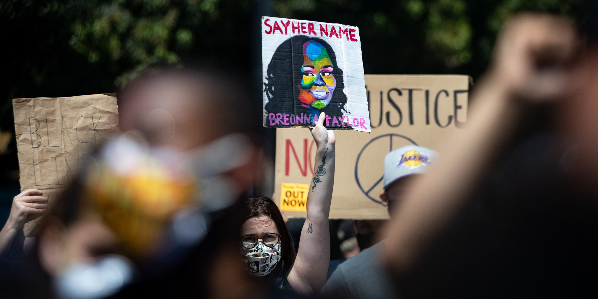Protesters at a Black Lives Matter march in Los Angeles, in July.