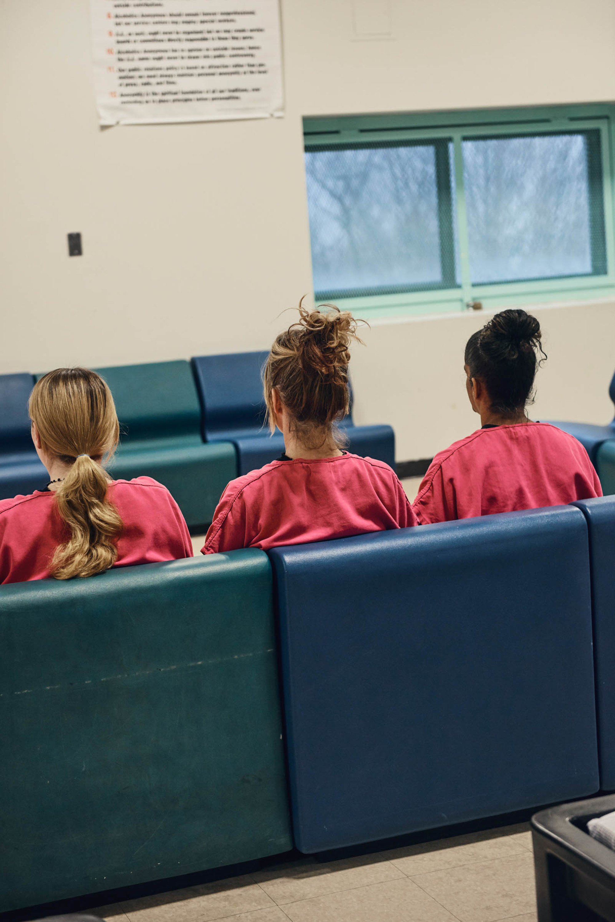 Women participate in a group therapy session at the detox unit at the Middleton House of Correction in Essex County, Mass.