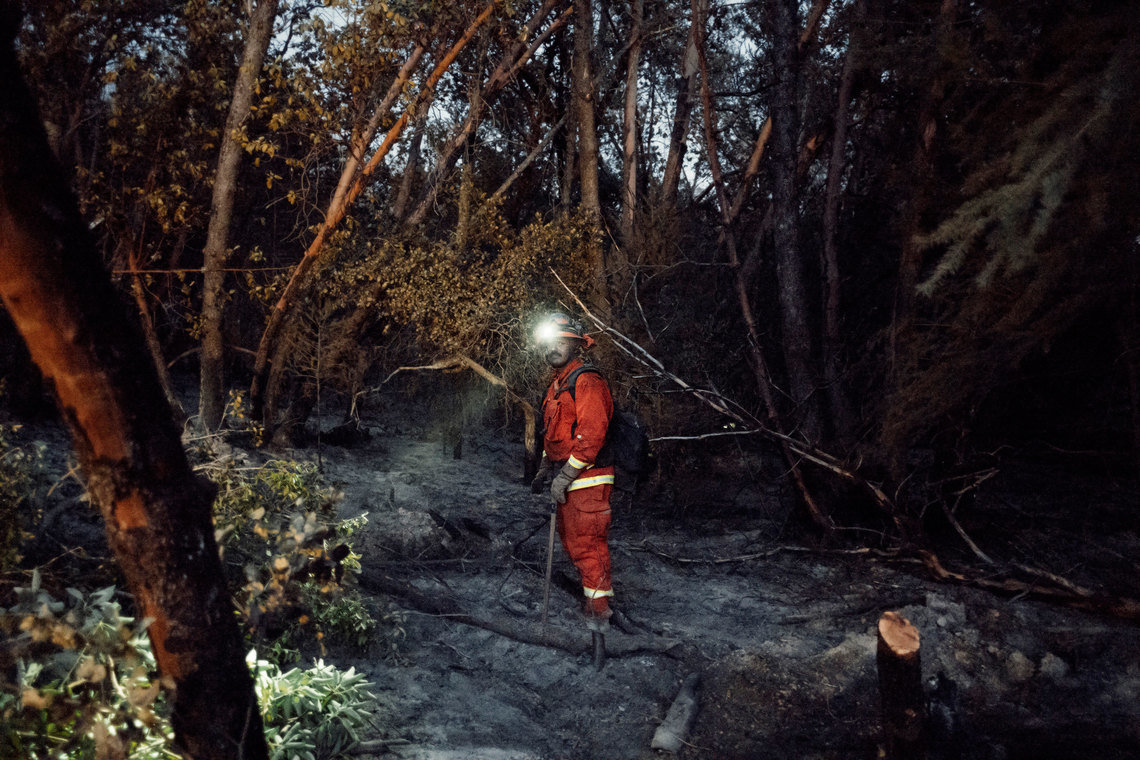 Inmates work 24-hour shifts when on a fire, often sleeping in the wilderness.