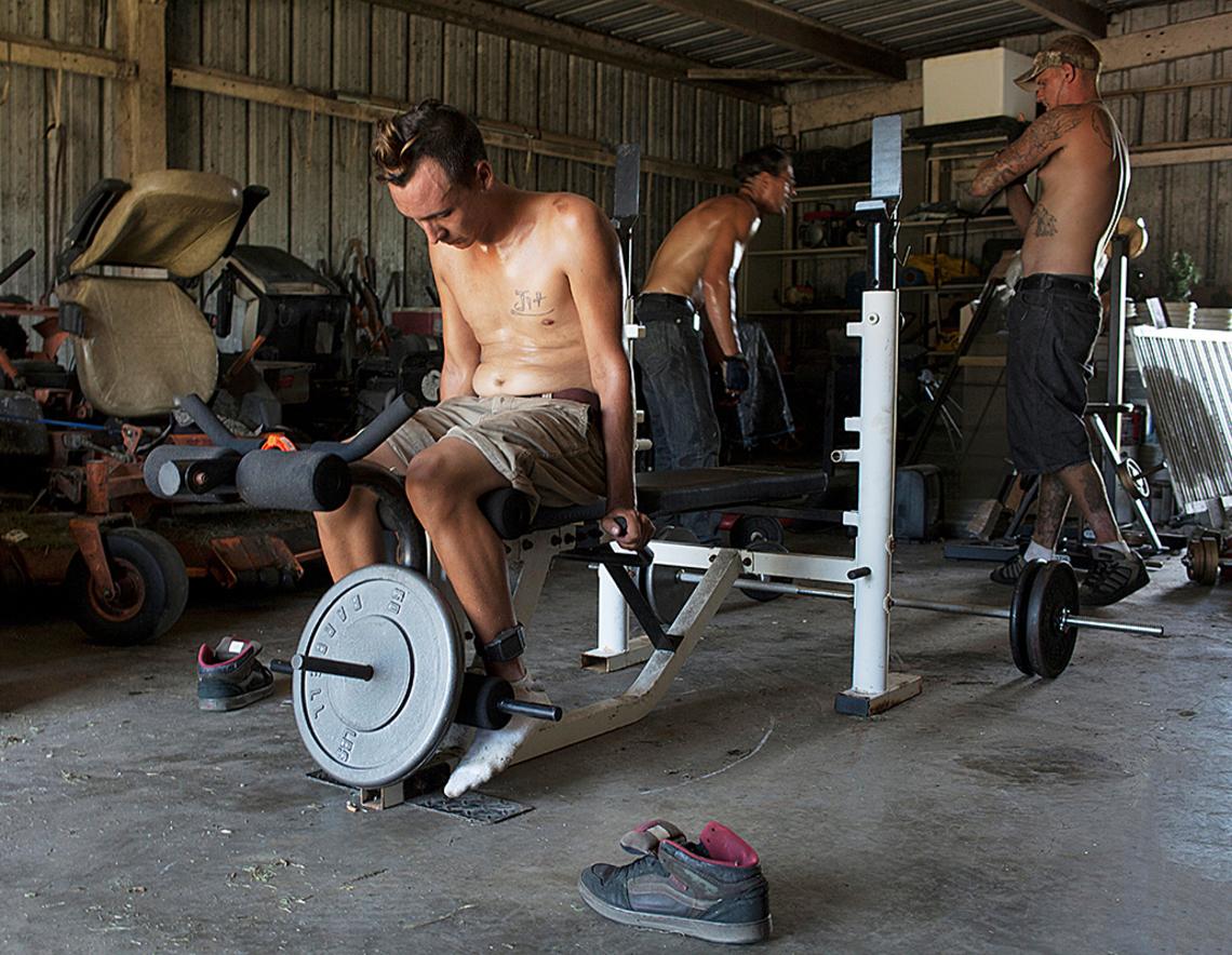 Matt exercising with David and Lee.