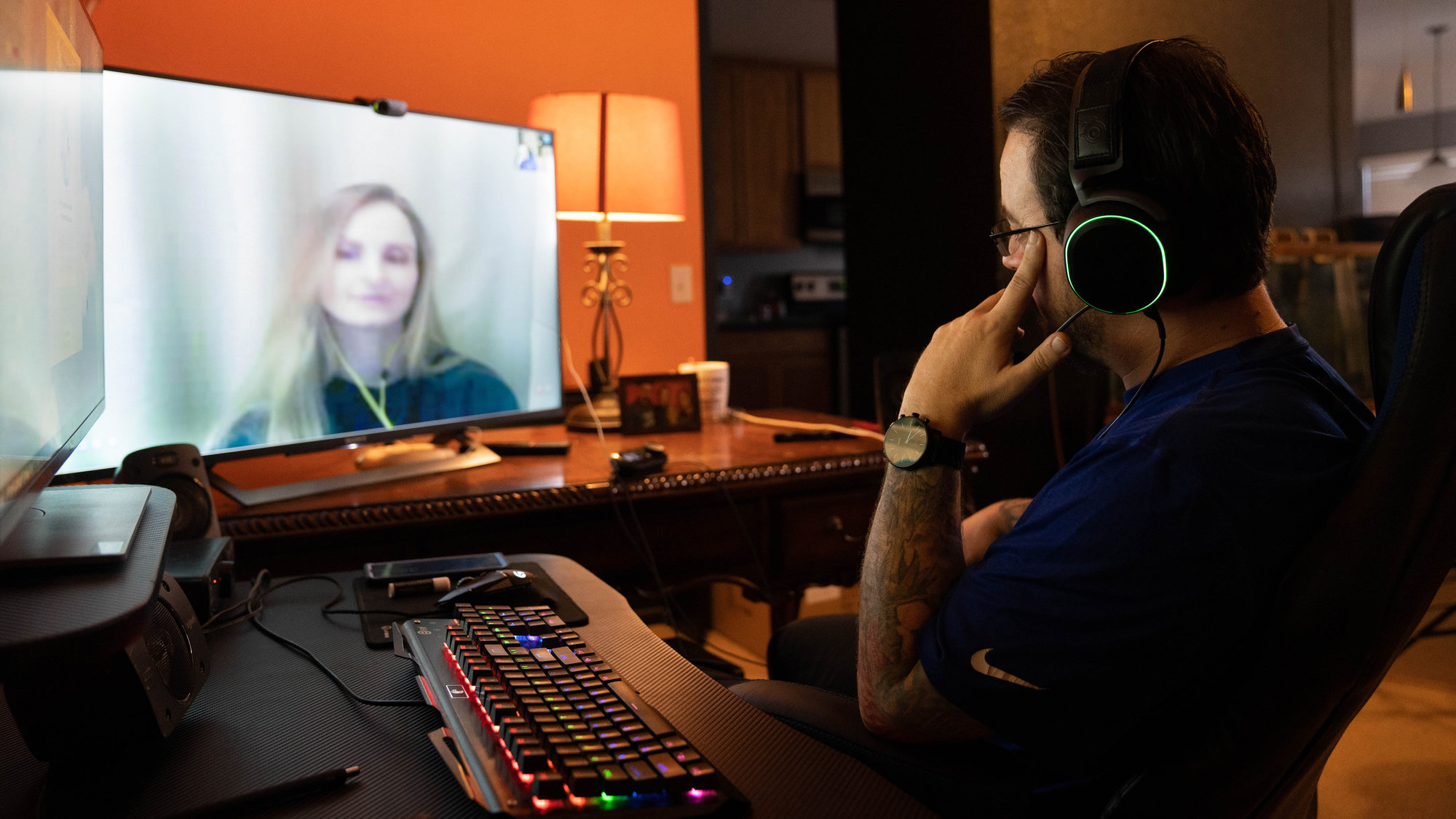 Mike April, who lives in Fort Worth, Texas, chats via online video with his wife, Heather April, who is incarcerated at Coffee Creek Correctional Facility in Oregon.