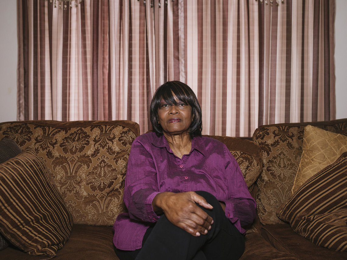 Carolyn Jordan-Daniels at her home in Highland, Calif. Her great-uncle, Nelson Nash, was murdered by a mob in Louisiana after being wrongly arrested.