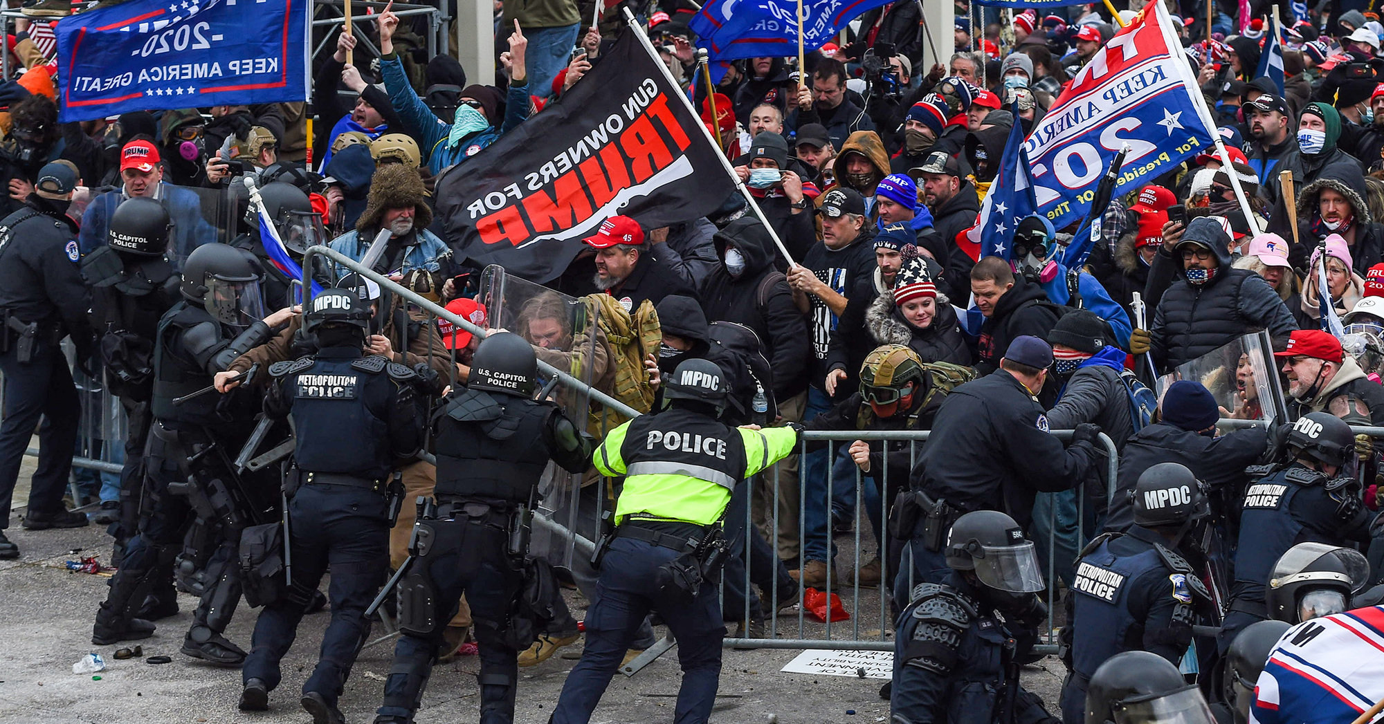A pro-Trump mob clashes with law enforcement officers during the assault on the Capitol in Washington, D.C. on January 6.