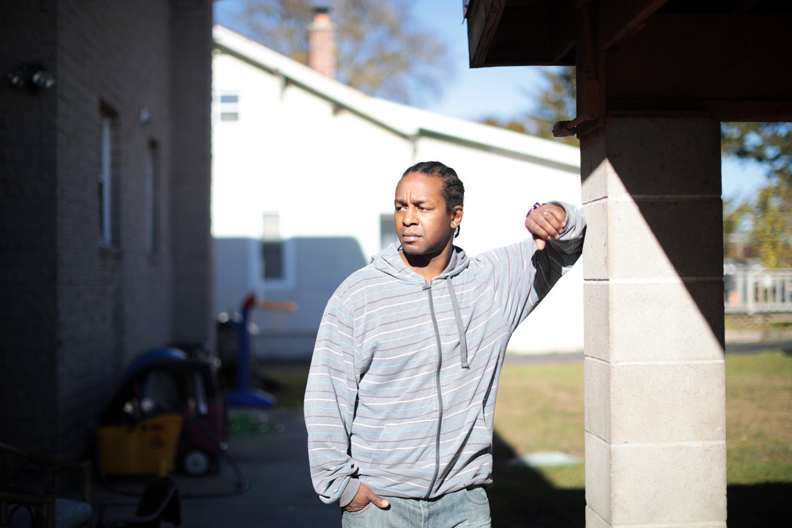 Stacey Wyne, 36, at his home in Schenectady, N.Y., said he was among those beaten on July 6.