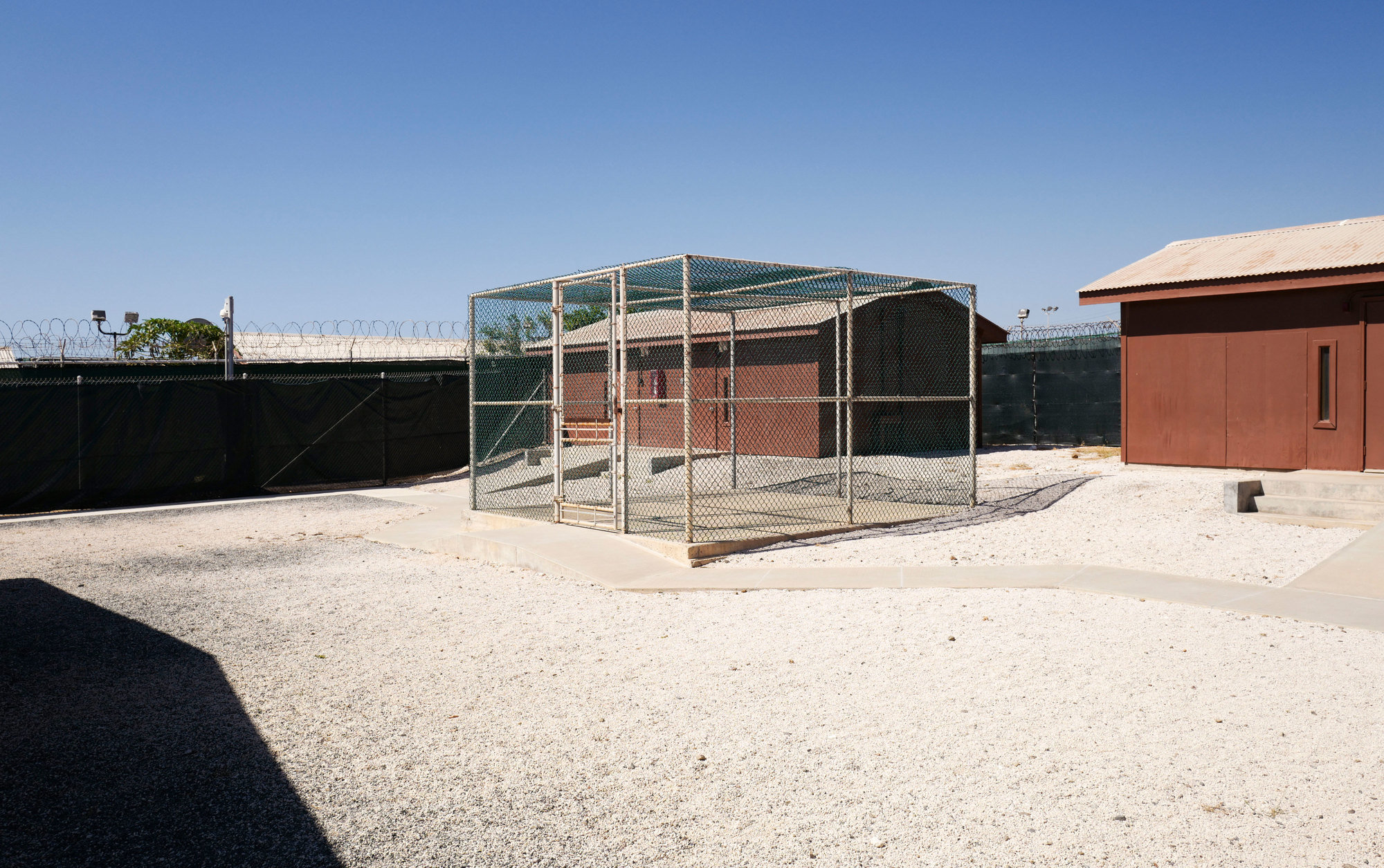 A recreation cage in the prison camp at Guantánamo Bay.