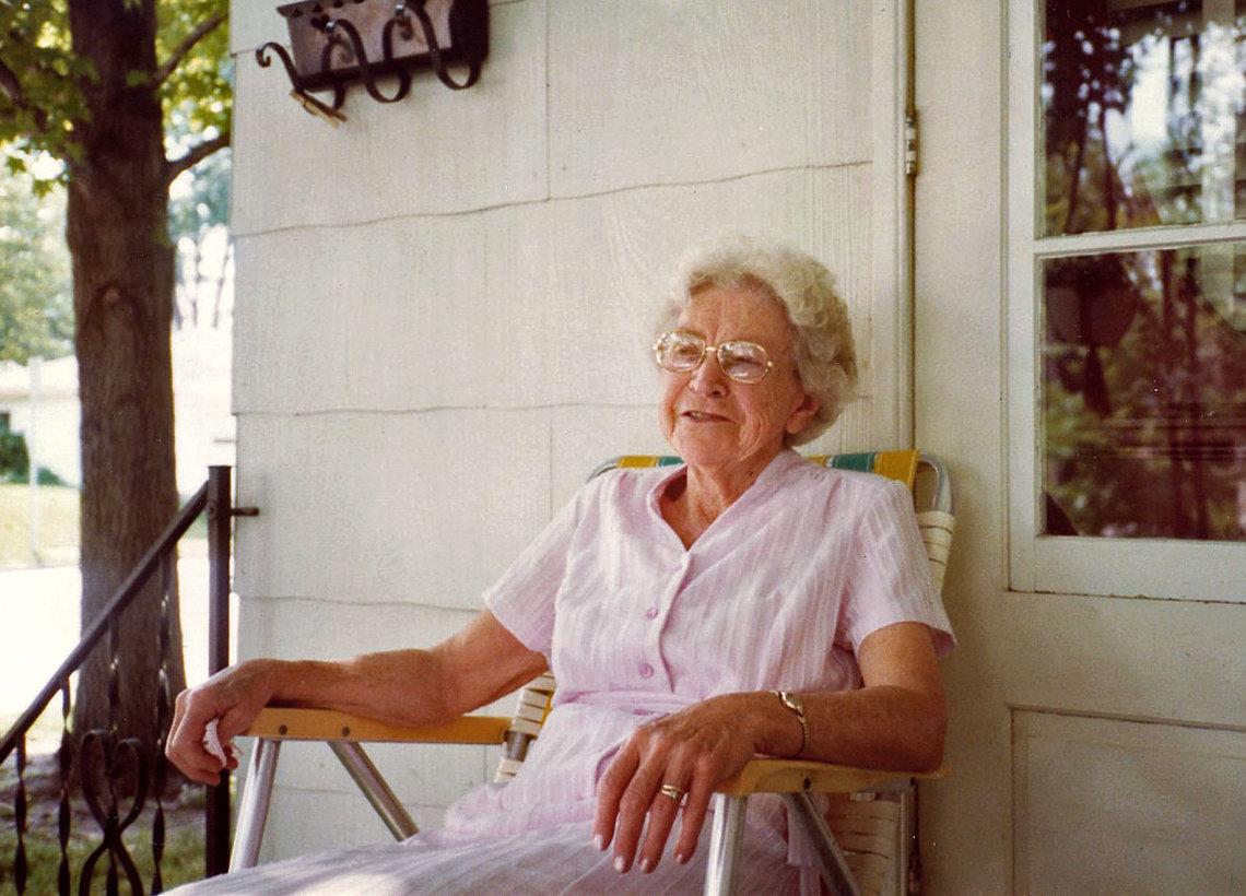 Eleonora Knoernschild on her porch in St. Charles, Mo. in 1982.