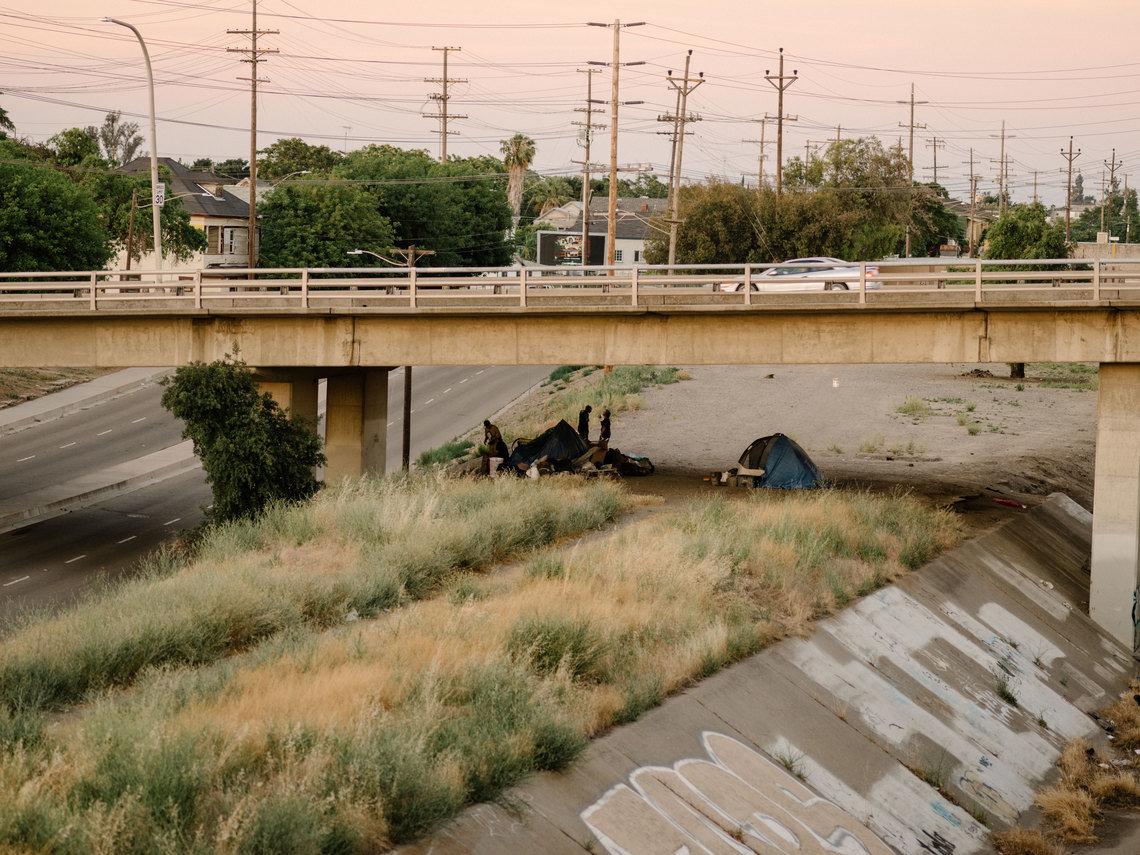 A homeless encampment in Stockton in 2017.