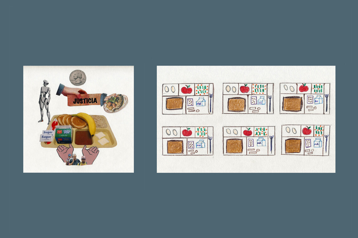 A drawing and collage capture dietary repetition. Workshop goers said meals were often served frozen or rotten.