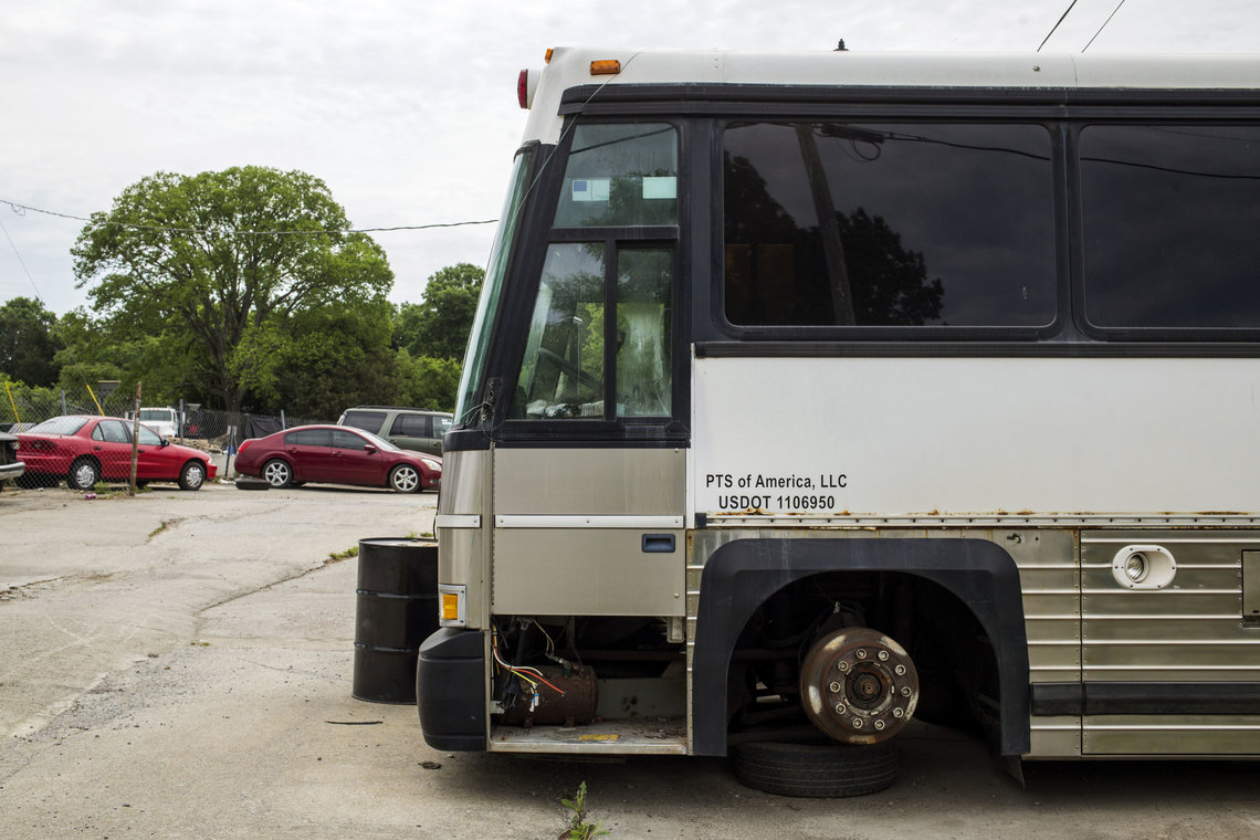 An out-of-service PTS bus at an automotive repair shop in Smyrna, Tenn., in 2016.