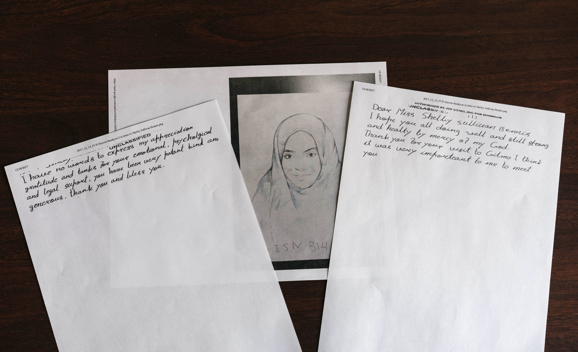 A copy of a letter written by Haroon Gul to his lawyer, Shelby Sullivan-Bennis, and a drawing he made of his daughter, Maryam.