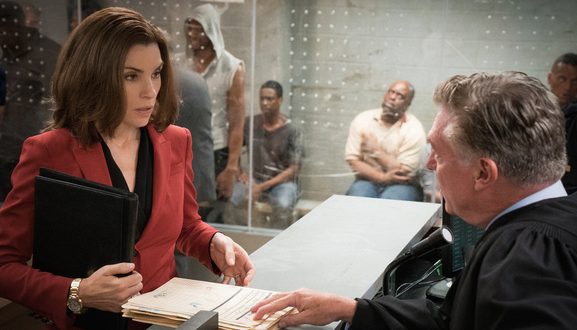 Margulies, left, plays a woman who is returning to her job as a defense lawyer after 13 years as a stay-at-home mom. In season seven, she finds herself in the fast-paced world of bail bond court, where judges face hundreds of cases a day.