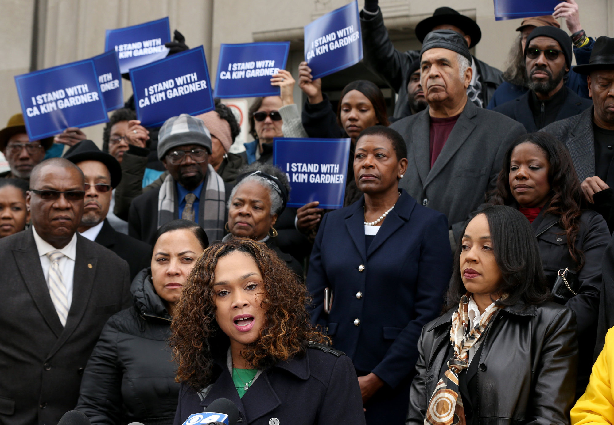 Baltimore State's Attorney Marilyn Mosby, center, speaks at a rally in St. Louis in support of Circuit Attorney Kimberly M. Gardner's lawsuit against her city's leadership.