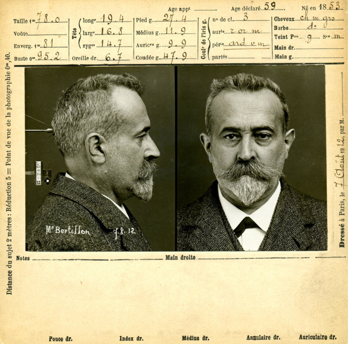 Alphonse Bertillon, a criminologist, developed the modern booking photograph — one frontal shot, one profile, in the late 19th century.