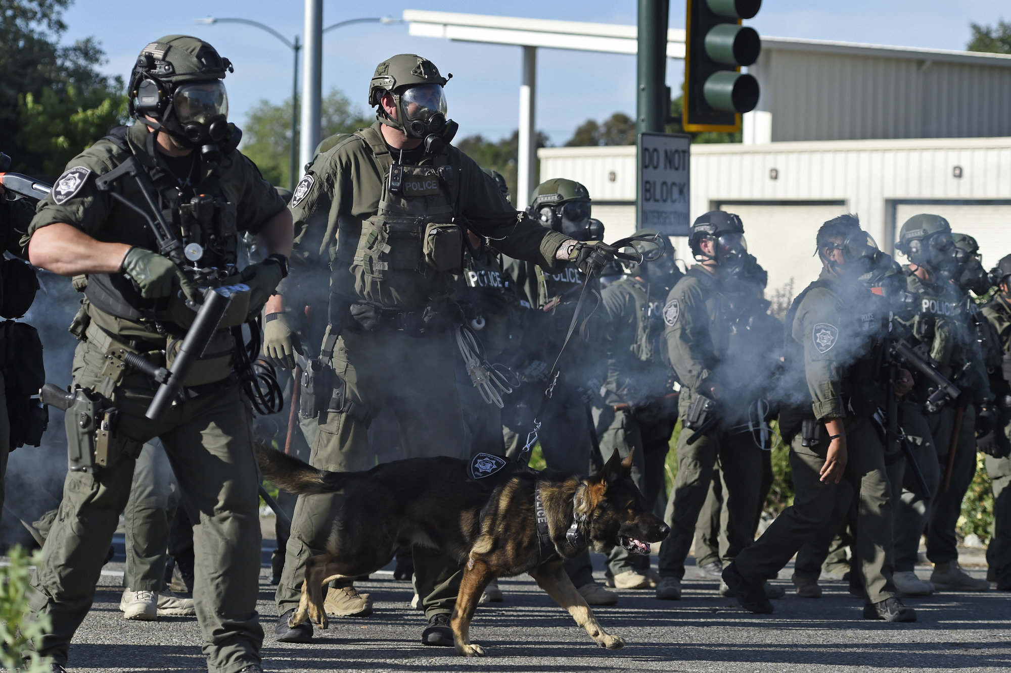 Officers with a police dog approached protesters after they marched onto the I-680 freeway during a Black Lives Matter demonstration in Walnut Creek, California, on June 1.