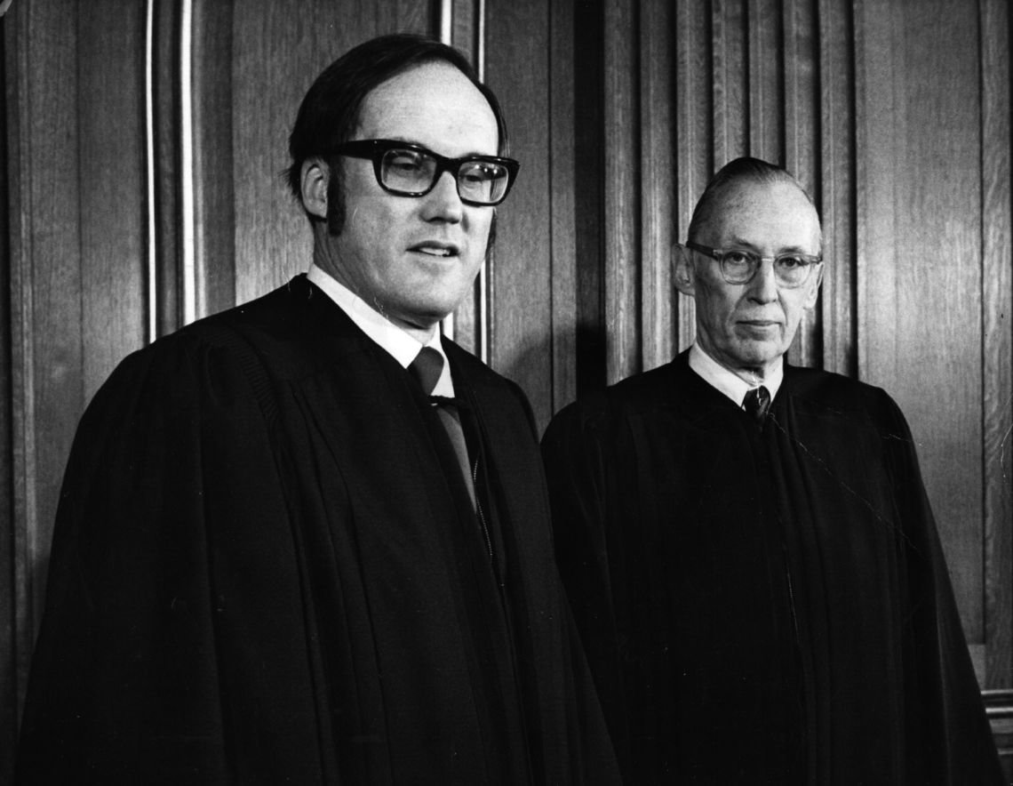 Associate Justices William Rehnquist and Lewis Powell, shown here shortly after they joined the court in 1972, were tasked several years later with deciding whether new state death penalty laws violated the Constitution.