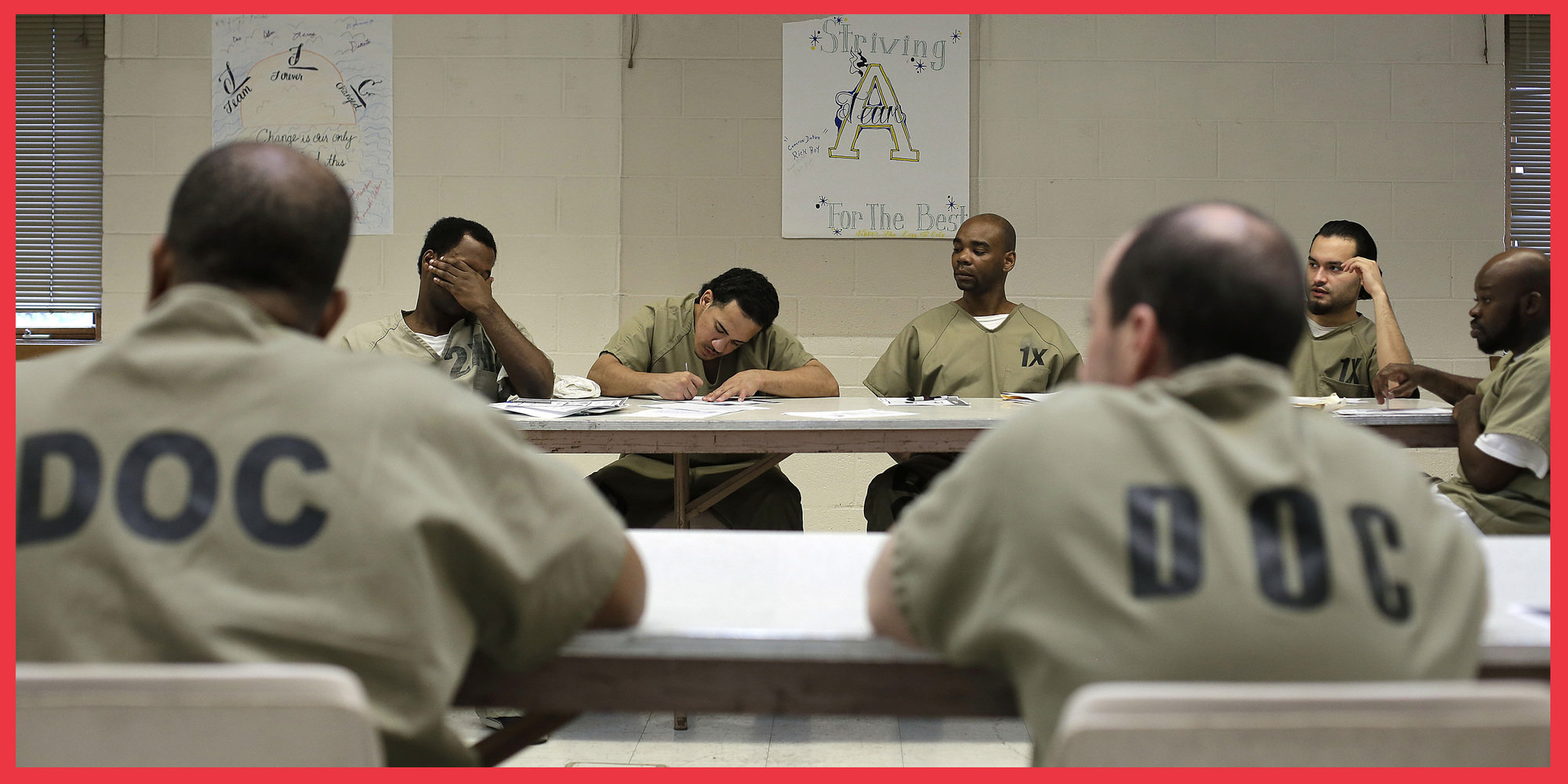 Prisoners attending a class at the mental health transition center at the Cook County Jail, in Chicago, in 2015.