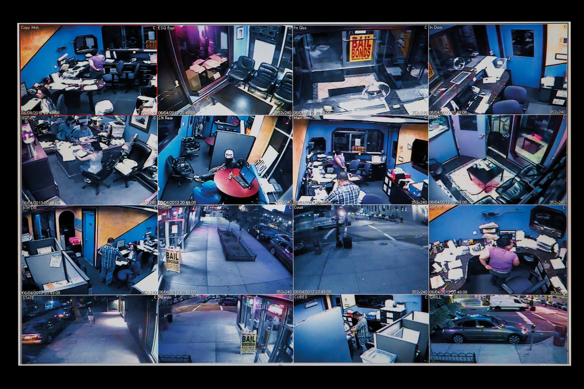 Screen grabs from closed-circuit cameras in bail-bond offices in Brooklyn.