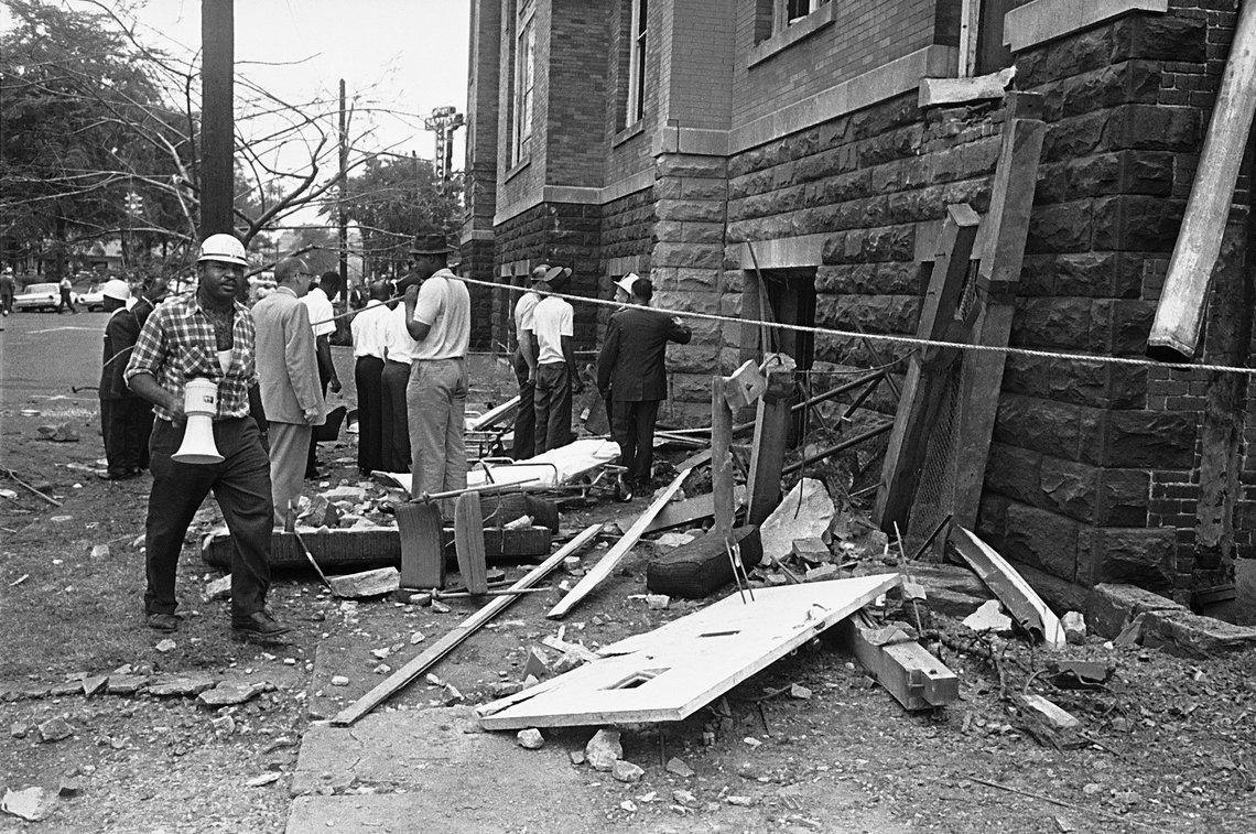 Debris near the basement of the 16th Street Baptist Church in Birmingham, Ala., where an explosion killed four girls on Sept. 15, 1963.