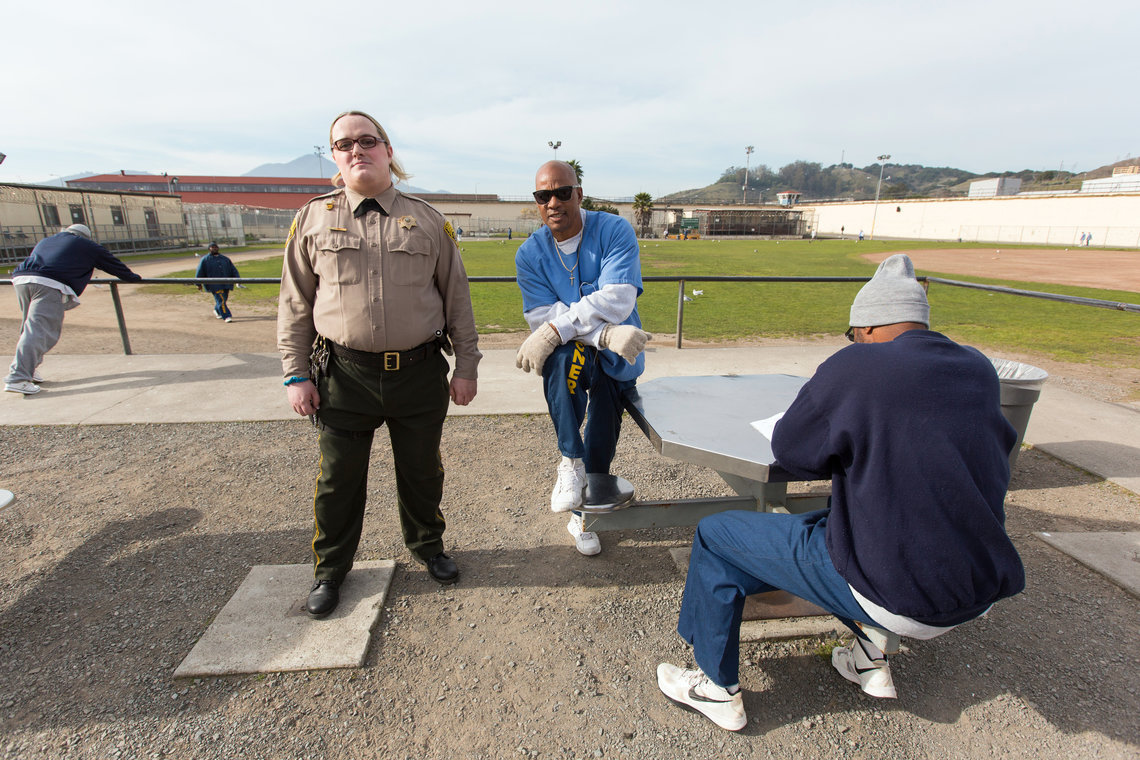 Mandi Camille Hauwert in the San Quentin State Prison yard.