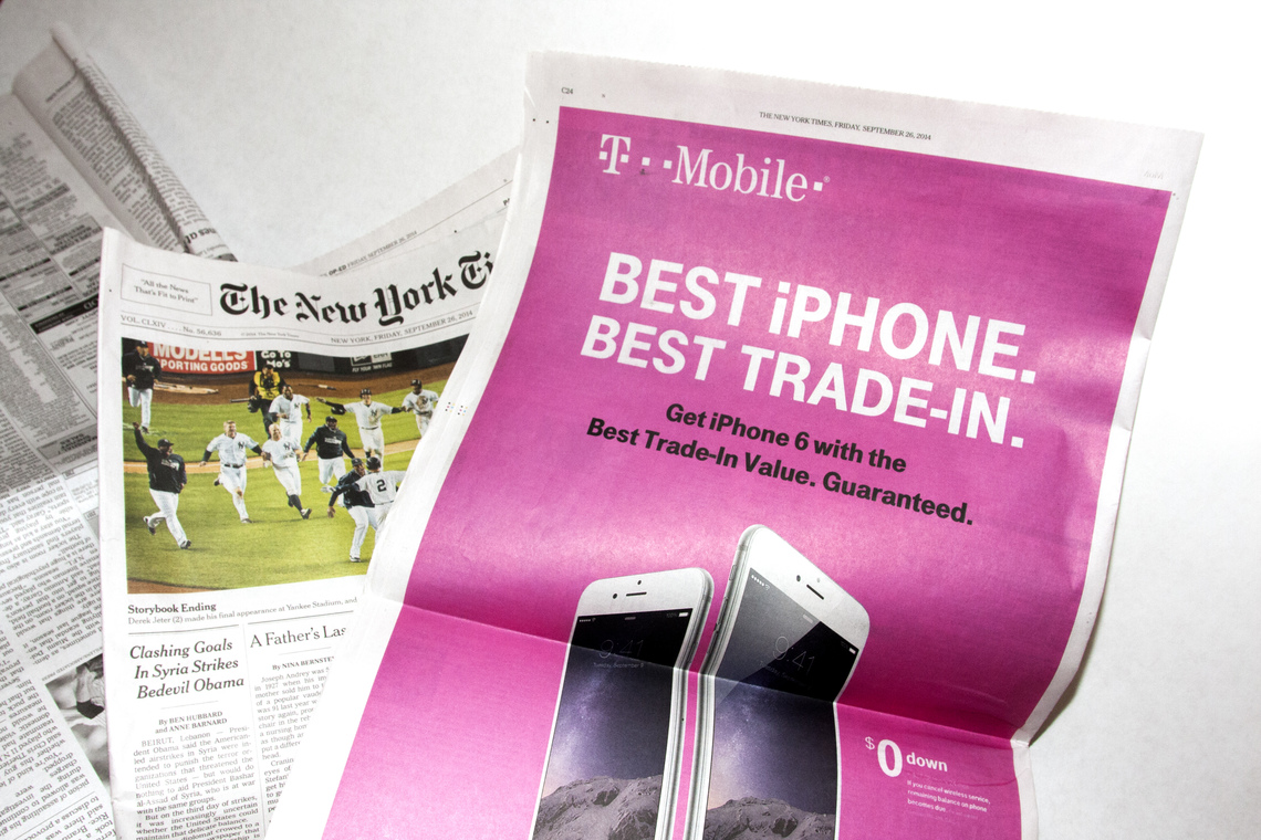 The pink newspaper ink from a T-Mobile ad is used as blush.