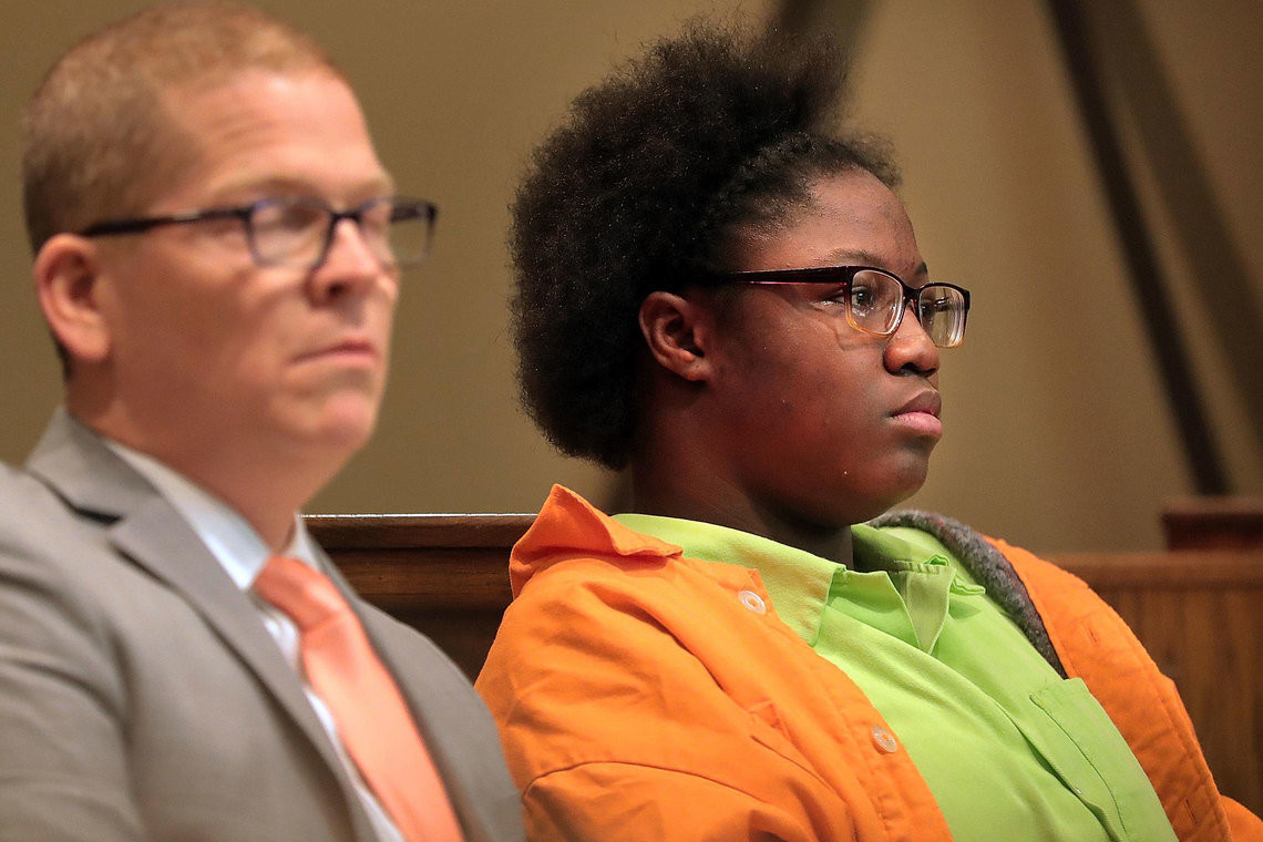 Teriyona Winton, 16, right, was accused of murder in Memphis.  She is being held in the maximum security unit at Tennessee Prison for Women in Nashville.