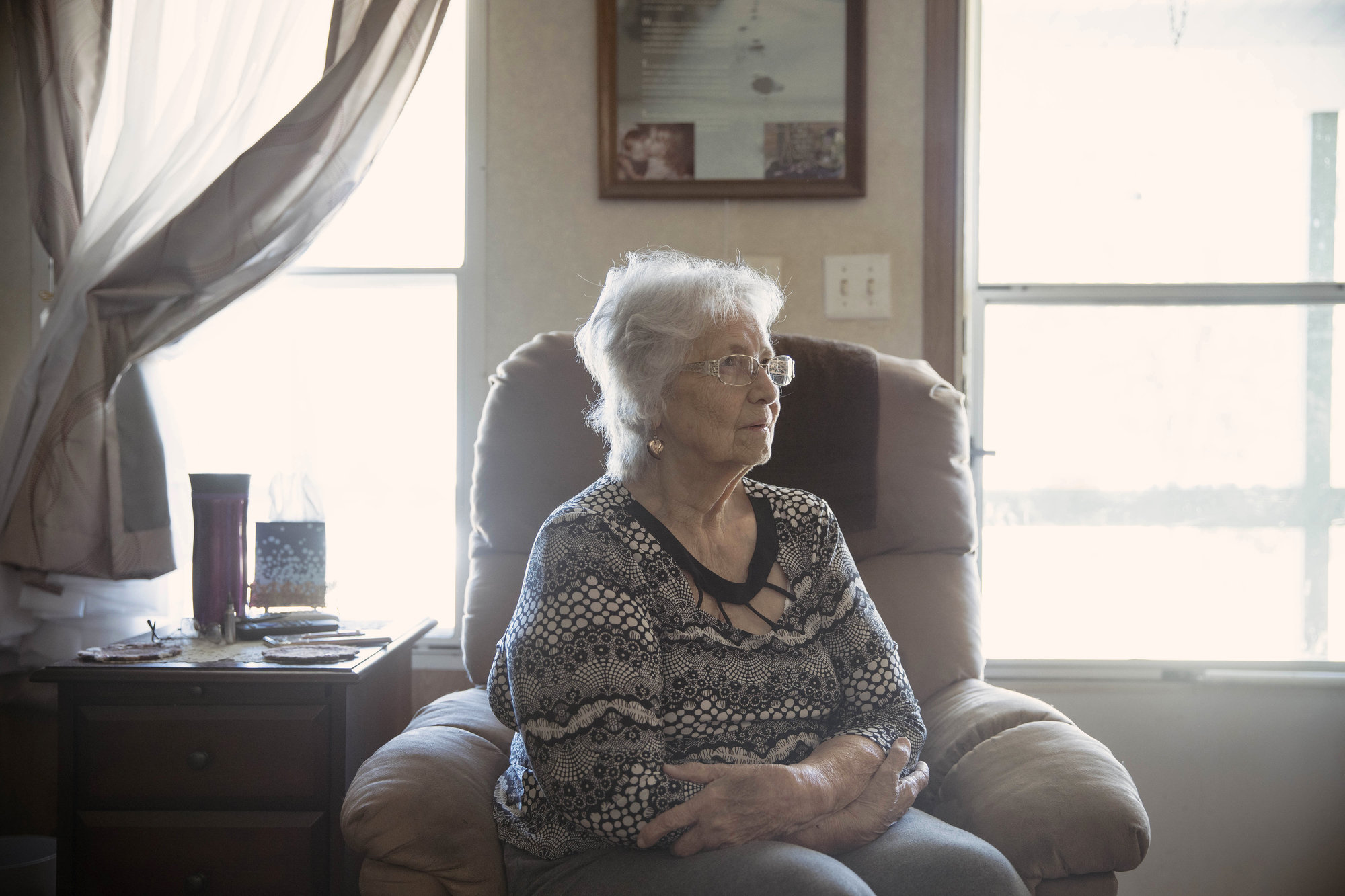 Earlene Peterson, whose daughter and granddaughter were killed, in her home in Hector, Ark., in 2019.